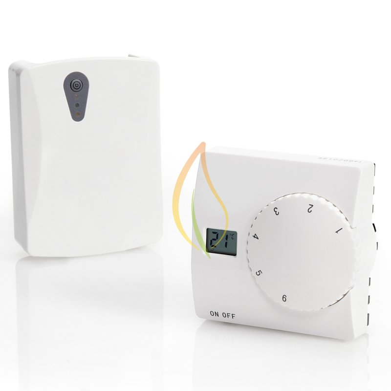 Funk Raumthermostat Set für Fussbodenheizung Batterie Sender + Empfänger 230V