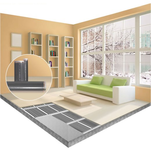 Comfort heating film 80Watt/m² 100cm wide completely assembled