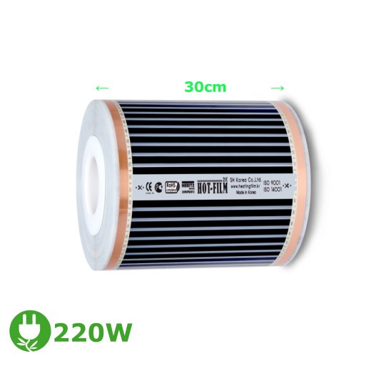 Comfort Heating film 220Watt/m² 30cm wide completely assembled