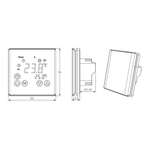 C17 Digital Touchscreen Thermostat