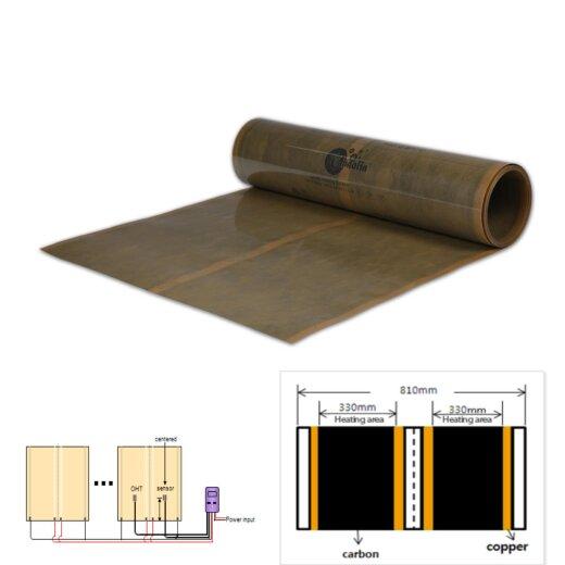 Heating Film 500Watt/m²  1m² = 80x125cm for Industry